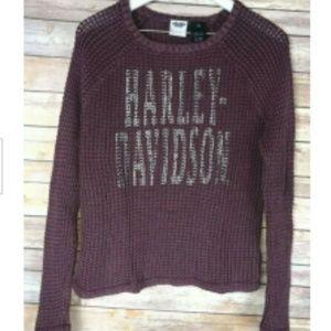 HARLEY DAVIDSON Loose Weave Acid-Washed Sweater
